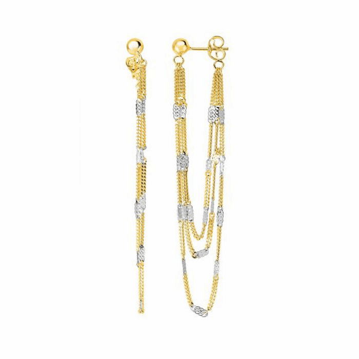 14kt Gold Yellow/White Diamond Cut Fancy Link Drop Fancy Earring