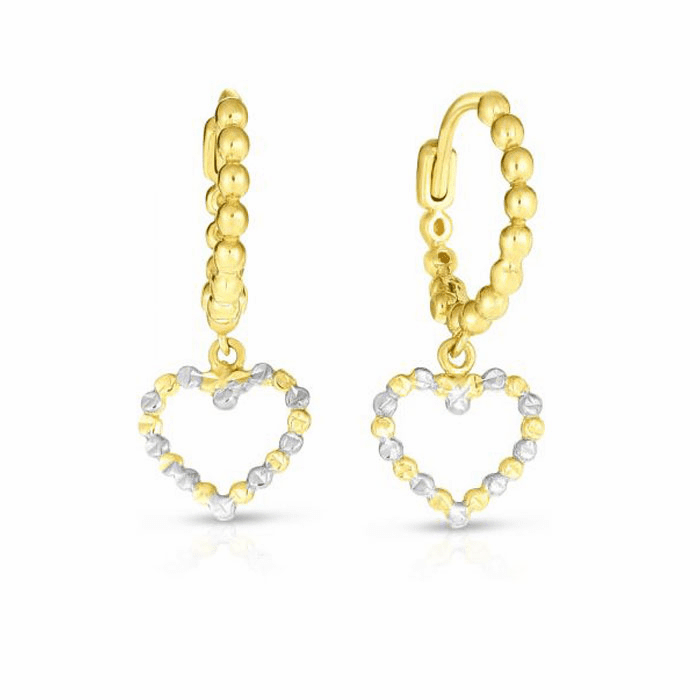 14kt Gold Yellow / White Diamond Cut Heart Earring with Endless Clasp
