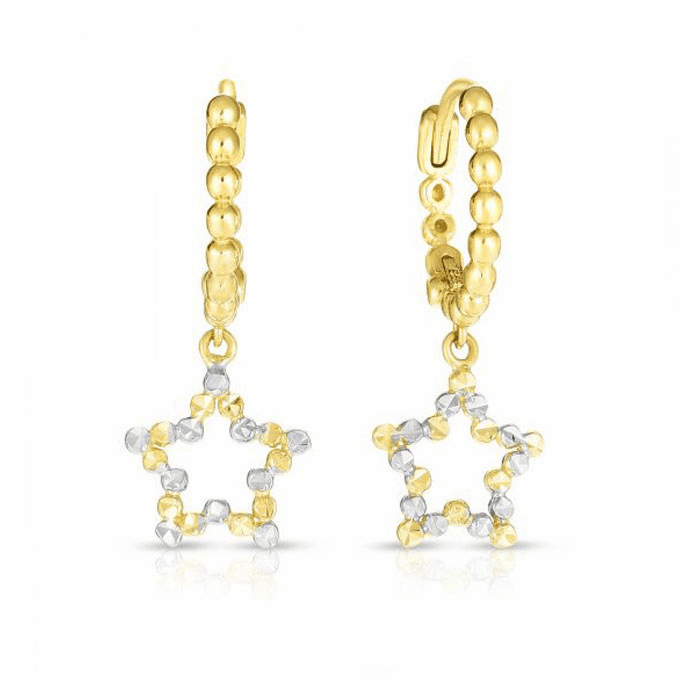 14kt Gold Yellow / White Diamond Cut Stars Earring with Endless Clasp