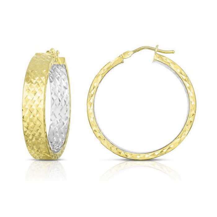 14kt Gold Yellow / White Finish Diamond Cut Earring with Hinged Clasp