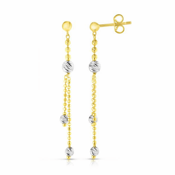 14kt Gold Yellow/White Finish Diamond Cut Earring with Push Back Clasp