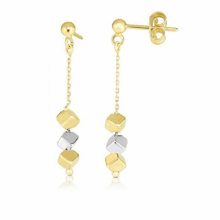 14kt Gold Yellow / White Finish Earring with Push Back Clasp