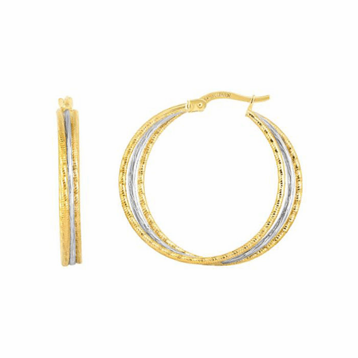 14kt Gold Yellow / White Finish Hoop Earring with Hinged Clasp