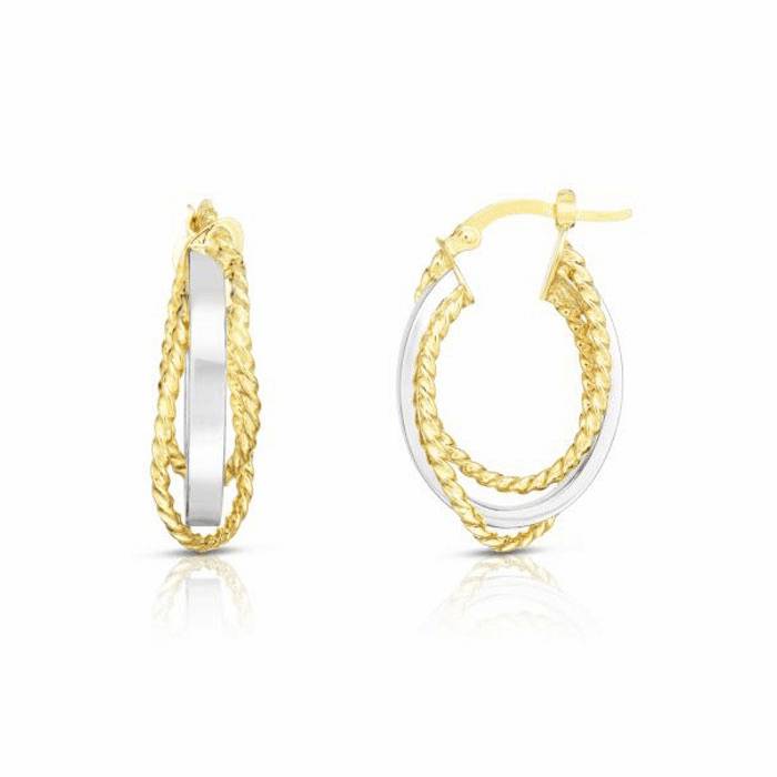 14kt Gold Yellow / White Oval Hoop Twisted Earring with Hinged Clasp