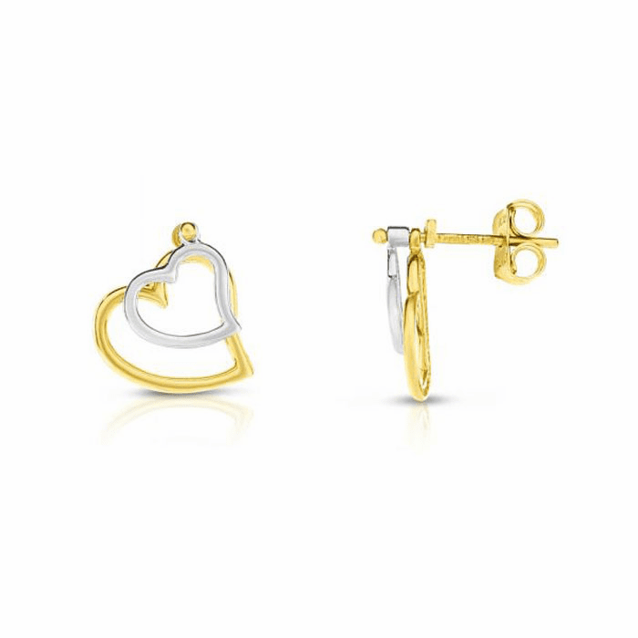 14kt Gold Yellow / White Rhodium 11.5x13mm Heart Heart Drop Earring