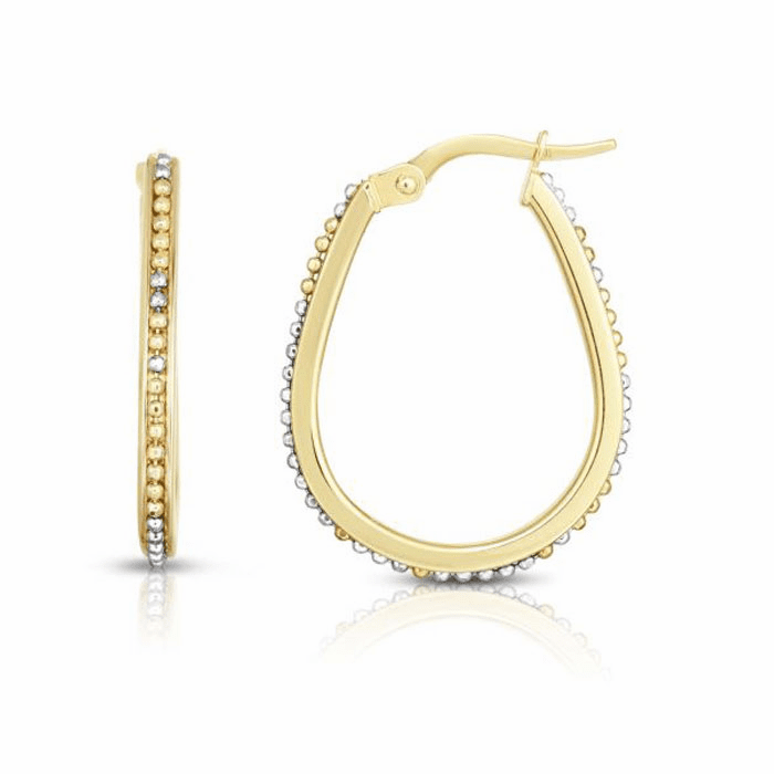 14kt Gold Yellow/White Rhodium 2.1x19x24mm/Textured Oval Hoop Earring