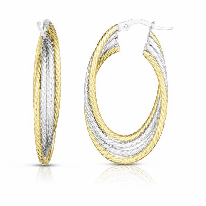 14kt Gold Yellow / White Rhodium 6x20x35mm Hoop Earring