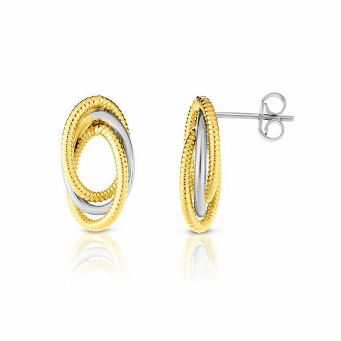 14kt Gold Yellow / White Rhodium 9x17mm Post Earring