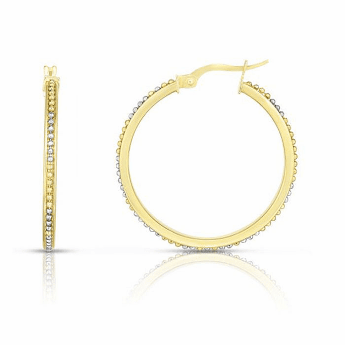 14kt Gold Yellow / White Rhodium Finish 2.1x26mm Hoop Earring