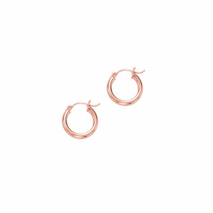 14Kt Rose Gold 3X15mm Shiny Round Tube Hoop Earring with Hinged Clasp