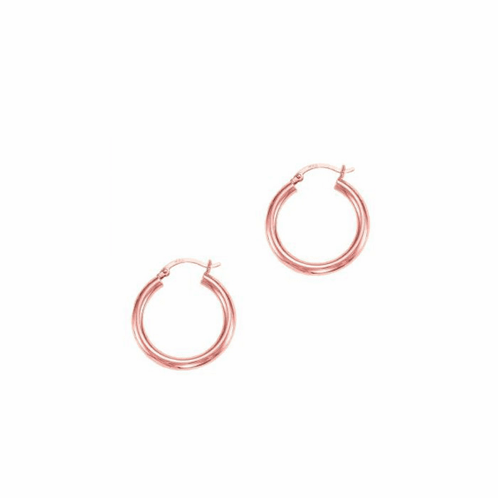 14Kt Rose Gold 3X25mm Shiny Round Tube Hoop Earring with Hinged Clasp
