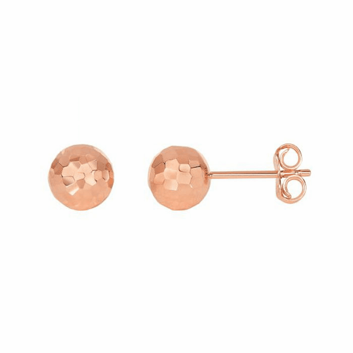 14Kt Rose Gold Diamond Cut Ball Earring On Post with Butterfly Clasp