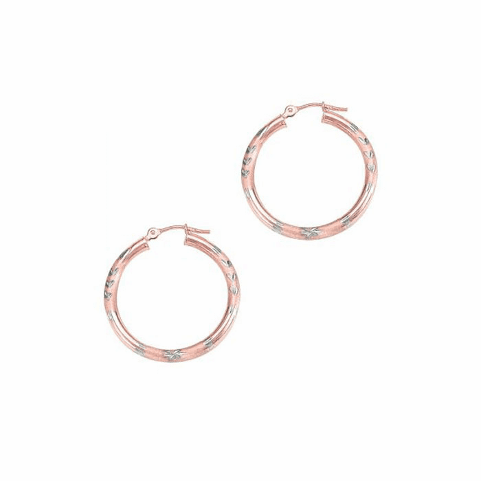 14Kt Rose Gold Diamond Cut Round Tube Hoop Earring with Hinged Clasp