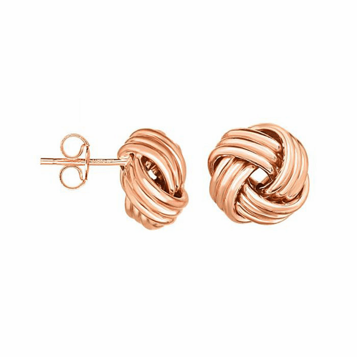 14kt Rose Gold Shiny Round Love knot Earring