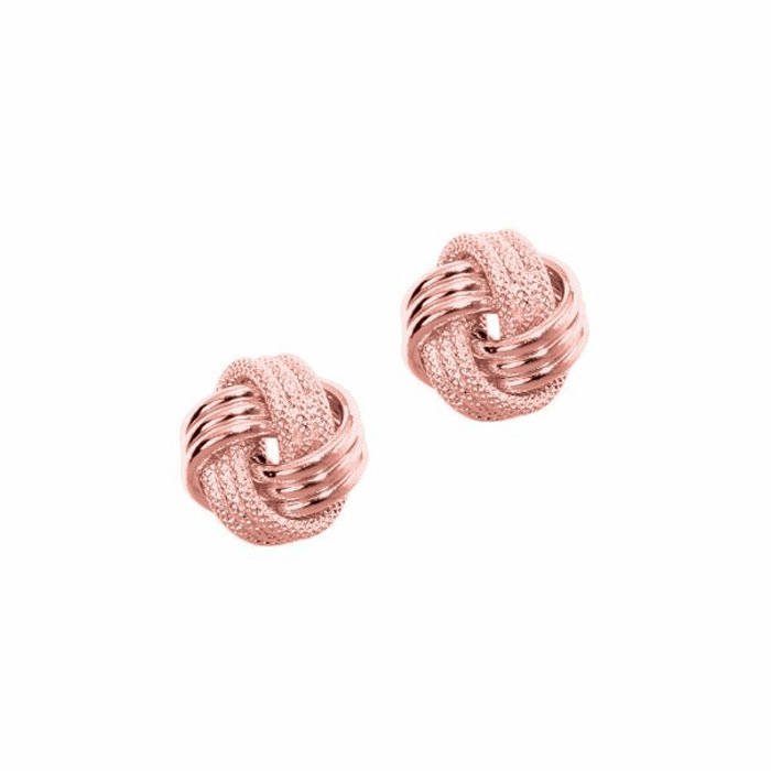 14Kt Rose Gold Shiny Textured 3 Row Love Knot Earring