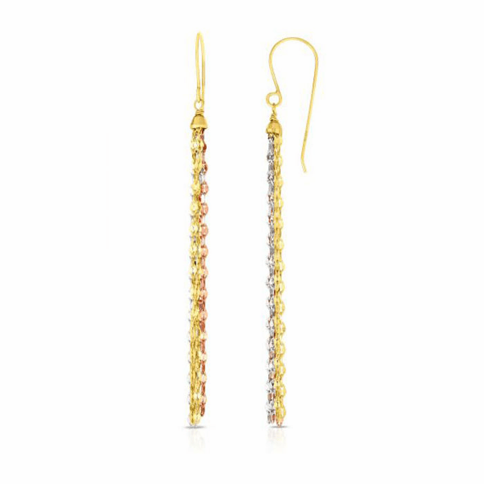 14kt Rose/Yellow/Rhodium 65mm Diamond Cut Multi-Strand Drop Earring