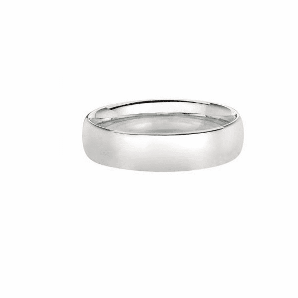 14kt Size-7 White Gold 6mm Shiny Wedding Band