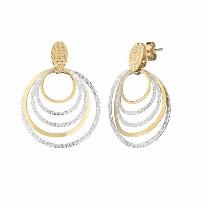 14kt Two Tone Gold Graduated Concentric Circle Earring