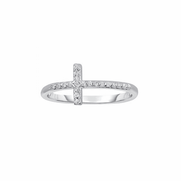 14kt White Gold 0.12ct Side Cross Ring