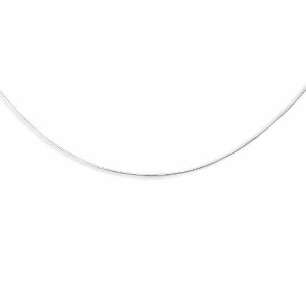 14kt White Gold 1.0mm Diamond Cut Round Omega Necklace - WROMD