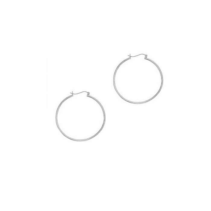 14Kt White Gold 1.5X40mm Shiny Round Tube Hoop Earring