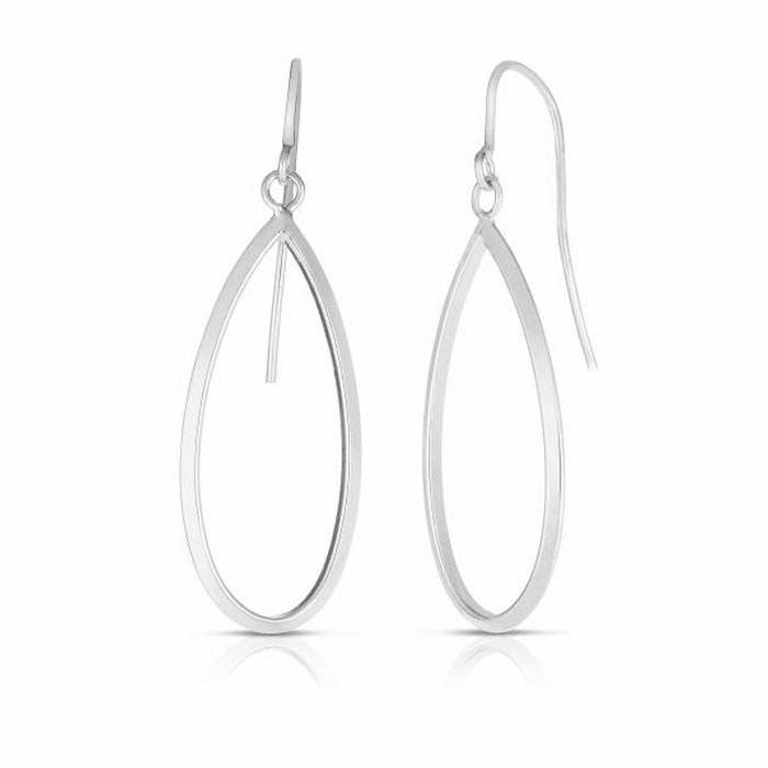 14kt White Gold 13x41mm Shiny Tear Drop Fancy Earring