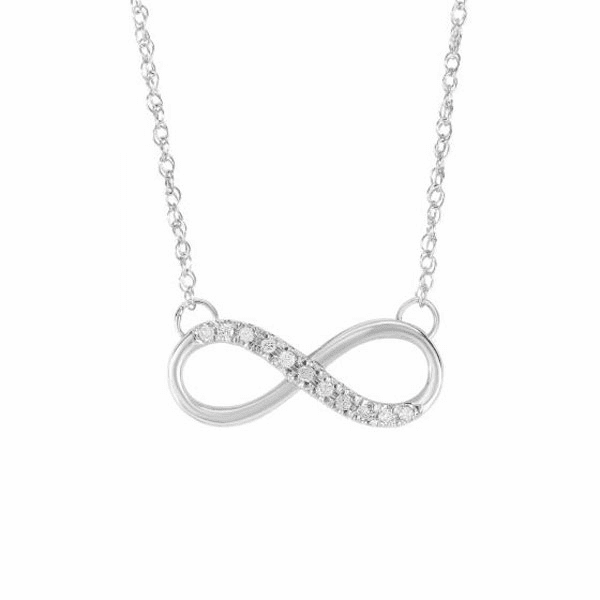 """14kt White Gold 18"""" 0.10ct Side Cross Necklace - DGN328"""