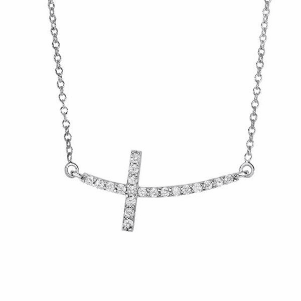 """14kt White Gold 18"""" 0.22ct Necklace with Long Curved Side way Cross"""