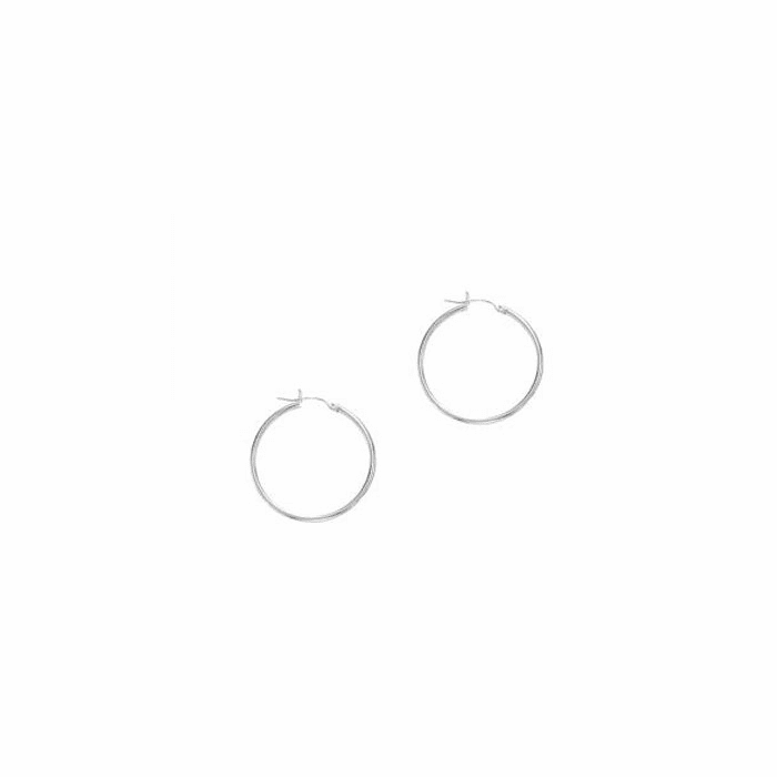 14Kt White Gold 25mm Shiny Round Tube Hoop Earring with Hinged Clasp