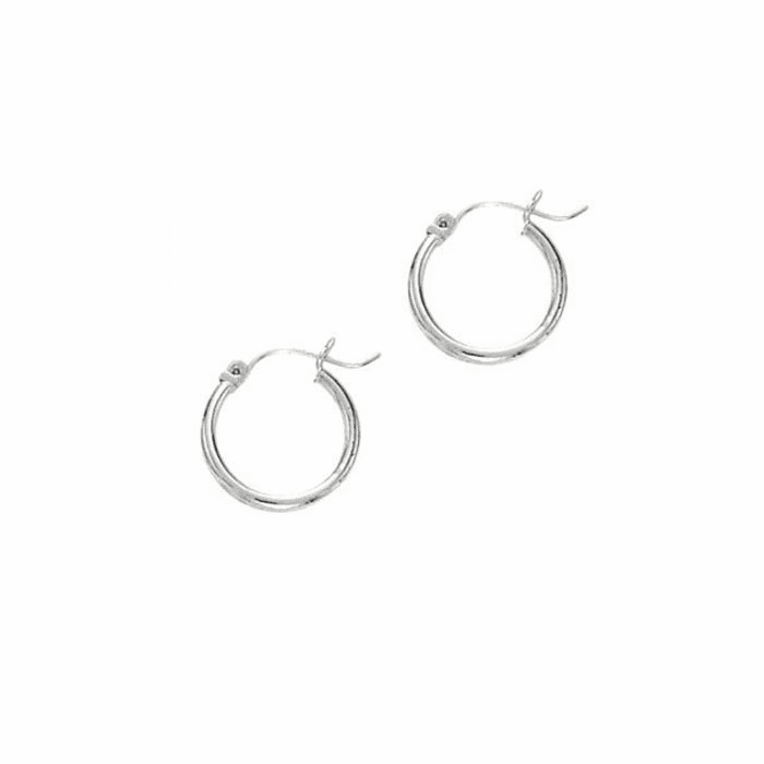 14Kt White Gold 2X20mm Shiny Super Lite Tube Earring