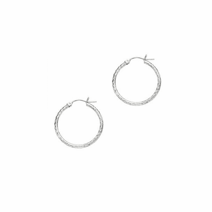 14Kt White Gold 2X25mm Diamond Cut Round Tube Design Hoop Earring