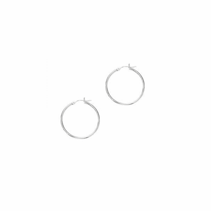 14Kt White Gold 2X30mm Shiny Round Tube Hoop Earring with Hinged Clasp