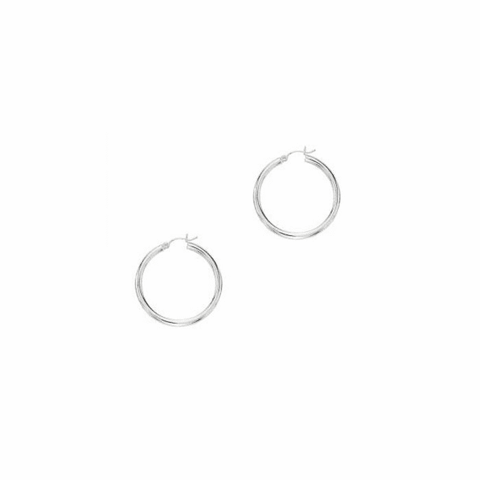 14Kt White Gold 3.0X30mm Round Tube Shiny Hoop Earring