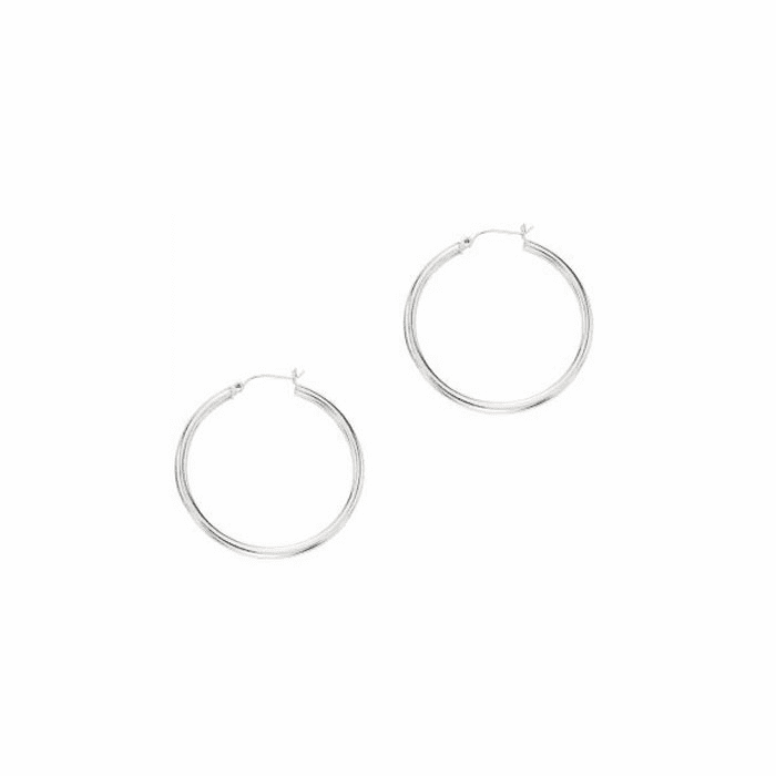 14Kt White Gold 3.0X40mm Round Tube Shiny Hoop Earring