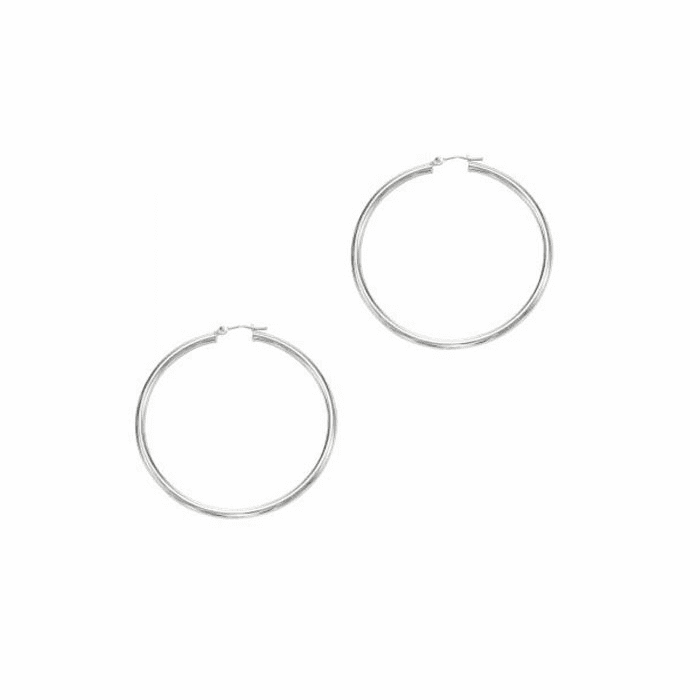 14Kt White Gold 3.0X50mm Round Tube Shiny Hoop Earring