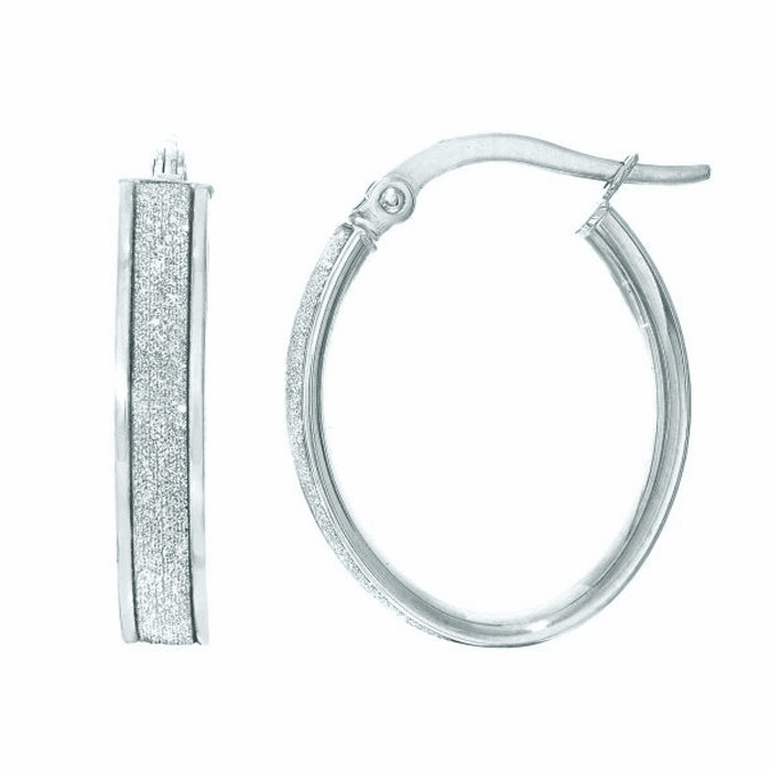 14Kt White Gold 3.75X14X17mm Oval Hoop Earring with White Glitter