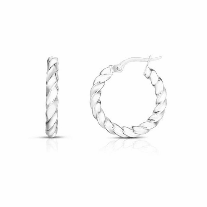 14kt White Gold 3x15mm Hoop Earring with Hinged Clasp