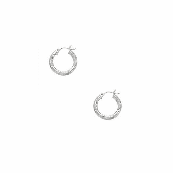 14Kt White Gold 3X15mm Shiny Diamond Cut Round Tube Hoop Earring