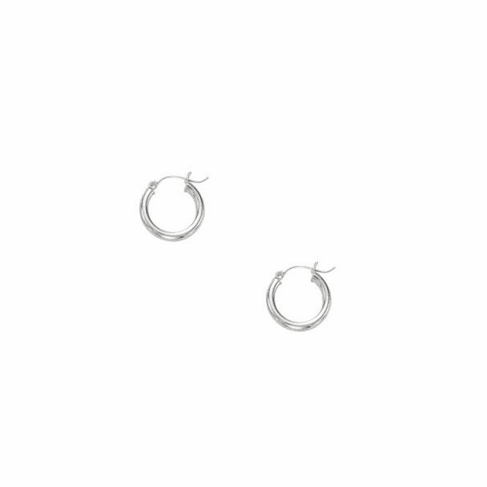 14Kt White Gold 3X15mm Shiny Round Tube Hoop Earring with Hinged Clasp