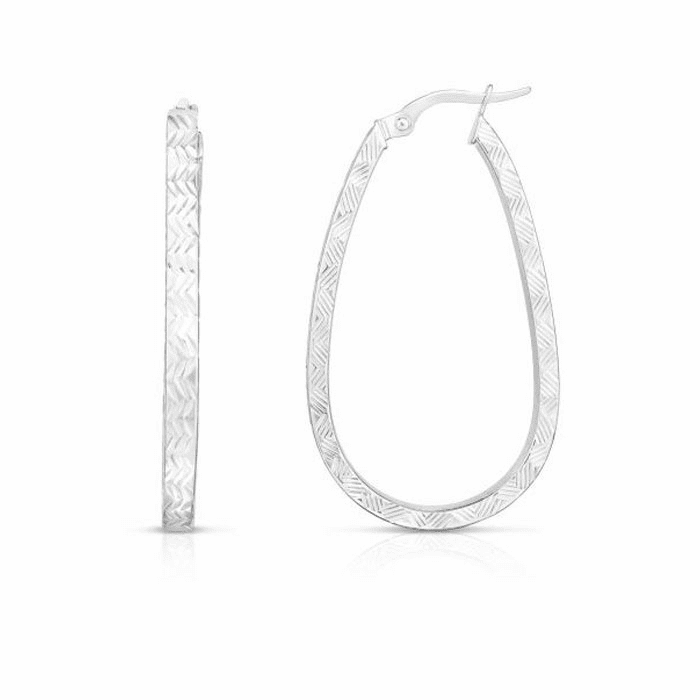 14kt White Gold 3x22x38mm Hoop Earring with Hinged Clasp