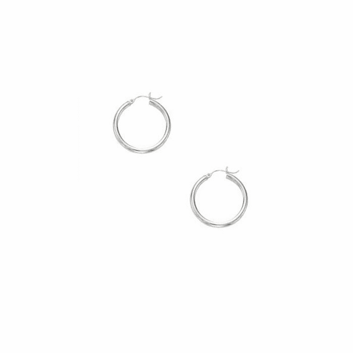 14Kt White Gold 3X25mm Shiny Round Tube Hoop Fancy Earring