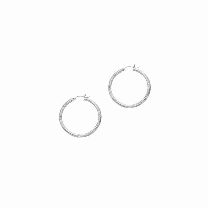 14Kt White Gold 3X35mm Shiny Diamond Cut Round Tube Hoop Earring