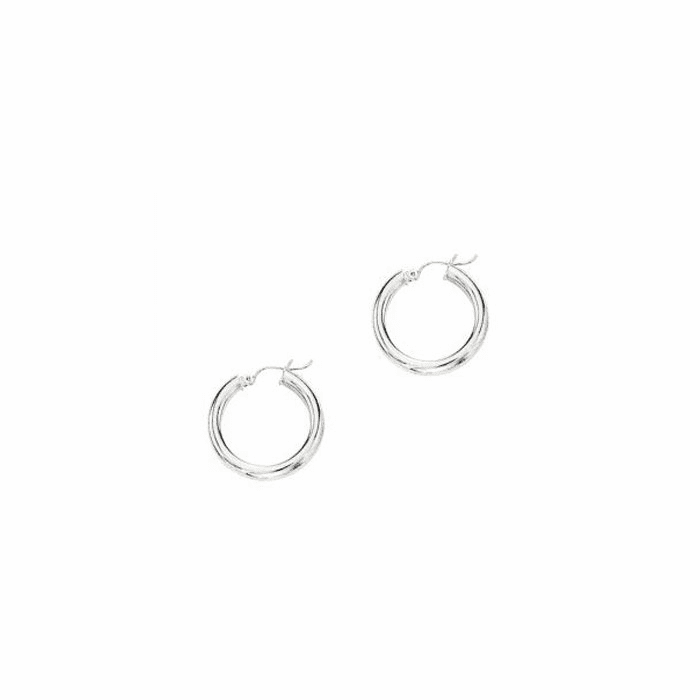 14Kt White Gold 4.0X25mm Round Tube Shiny Hoop Earring