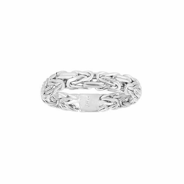 14kt White Gold 4.1mm Shiny Byzantine Band Type Size 07 Ring