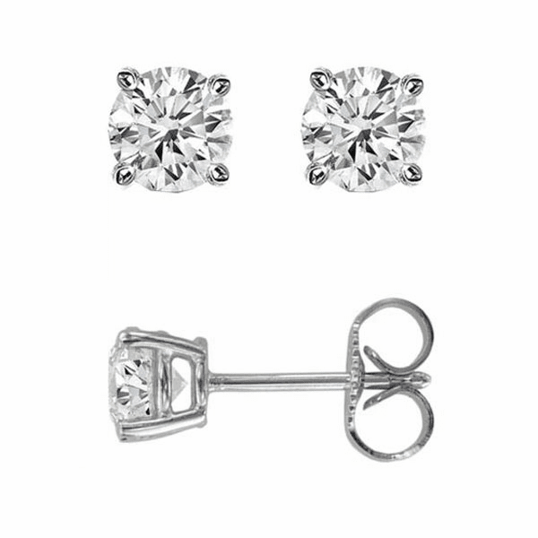 14Kt White Gold .50Ct Princess Diamond Stud Earring