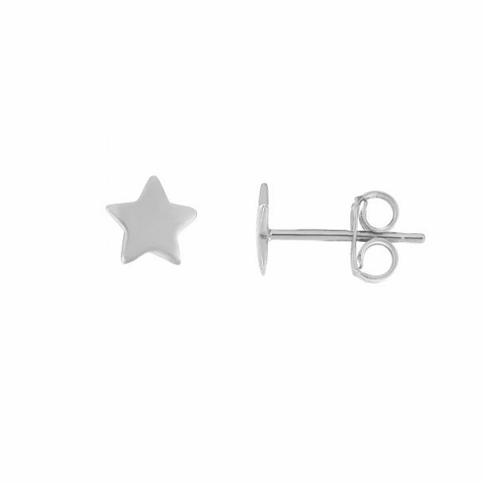 14kt White Gold 6.5mm Shiny Fancy Post Star Earring