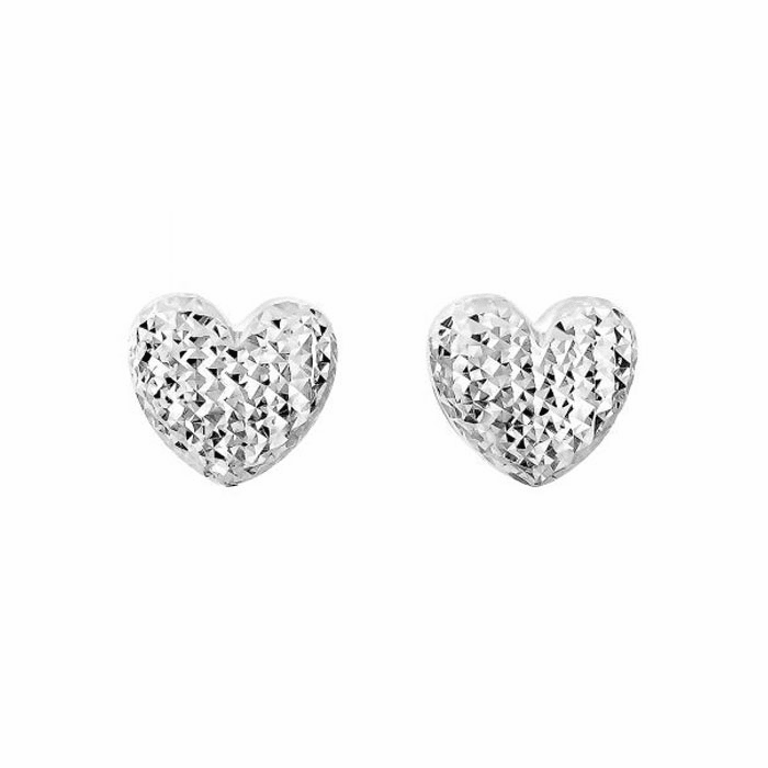 14Kt White Gold / Diamond Cut 11X10.6mm Puff Heart Fancy Post Earring