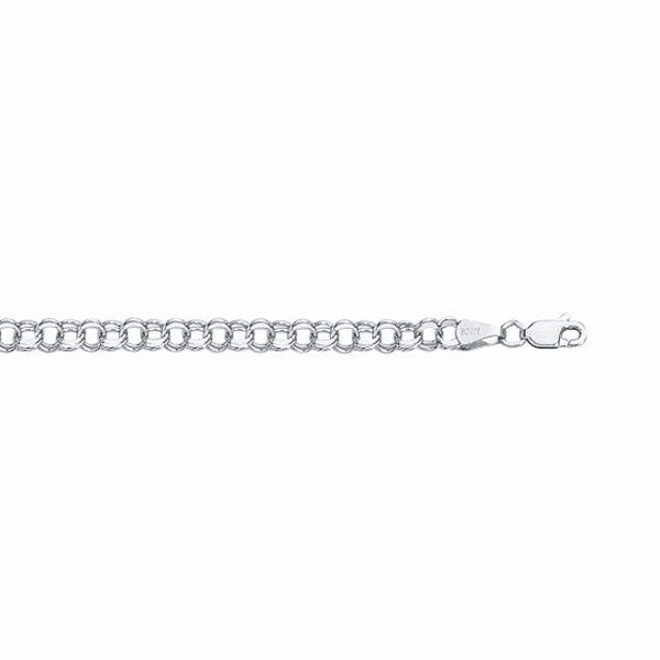 14kt White Gold Diamond Cut Double Link Charm Bracelet - WCB122