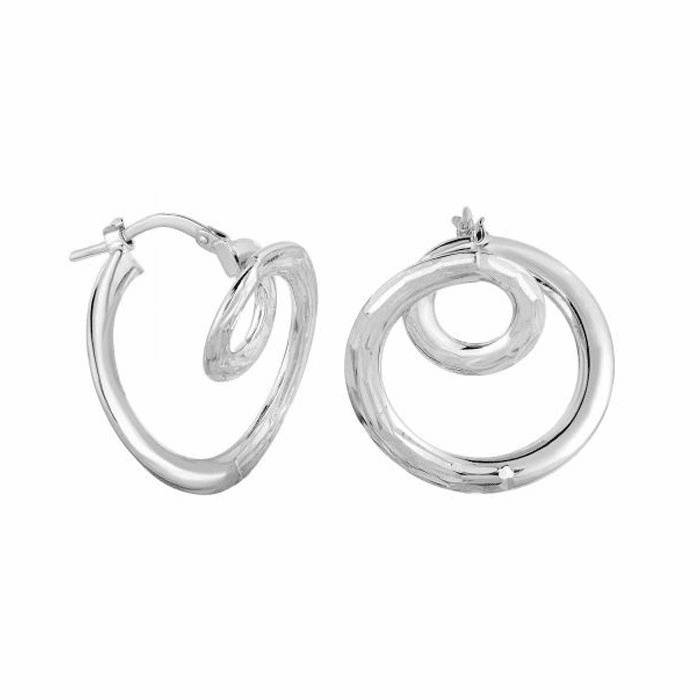 14Kt White Gold Diamond Cut Small Circle In Large Circle Hoop Earring