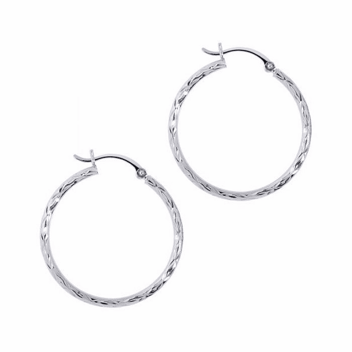 14Kt White Gold Diamond Cut Small Hoop Earring with Hinged Clasp